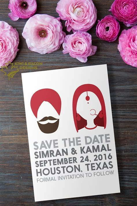 Indian Sikh Punjabi Save the Date   Indian Silhouette