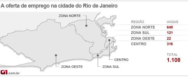 Mapa do emprego do Rio - 05/12/12 (Foto: Editoria de arte/G1)
