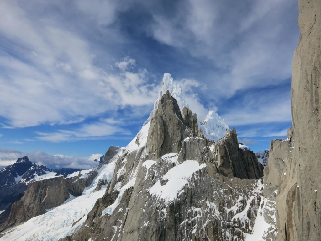 A rime covered Cerro Torre stands in the distance  Photo Jonny Simms