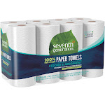 Seventh Generation Paper Towel Rolls, White - 8 count