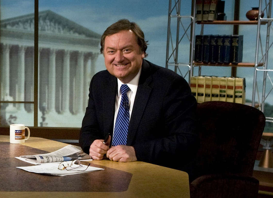 "WASHINGTON - MARCH 30:  (FILE PHOTO) Moderator Tim Russert is seen on the set of ""Meet the Press"" during a taping in this file photo from March 30, 2008 in Washington, DC. Russert, collapsed and died June 13, 2008 while at work in Washington.  (Photo by Brendan Smialowski/Getty Images for Meet the Press) *** Local Caption *** Tim Russert"