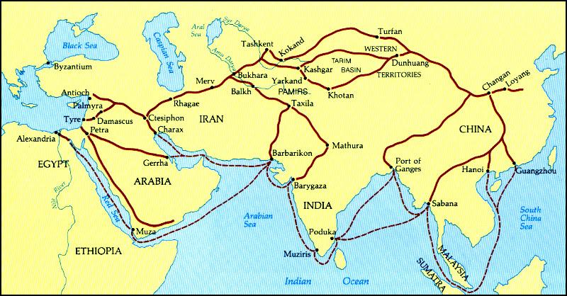 Resultado de imagen de ruta de la seda mapa