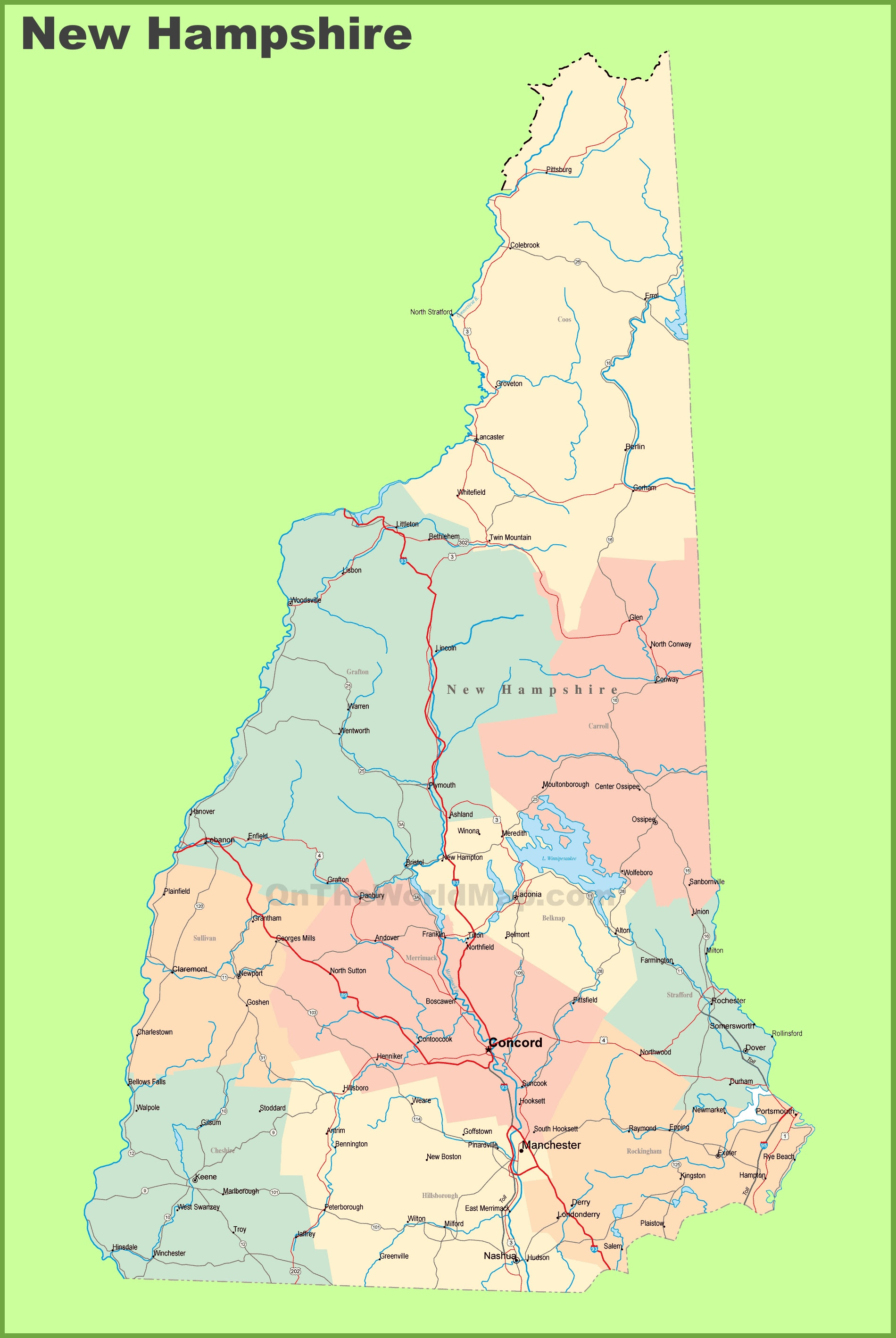 New Hampshire Map Map