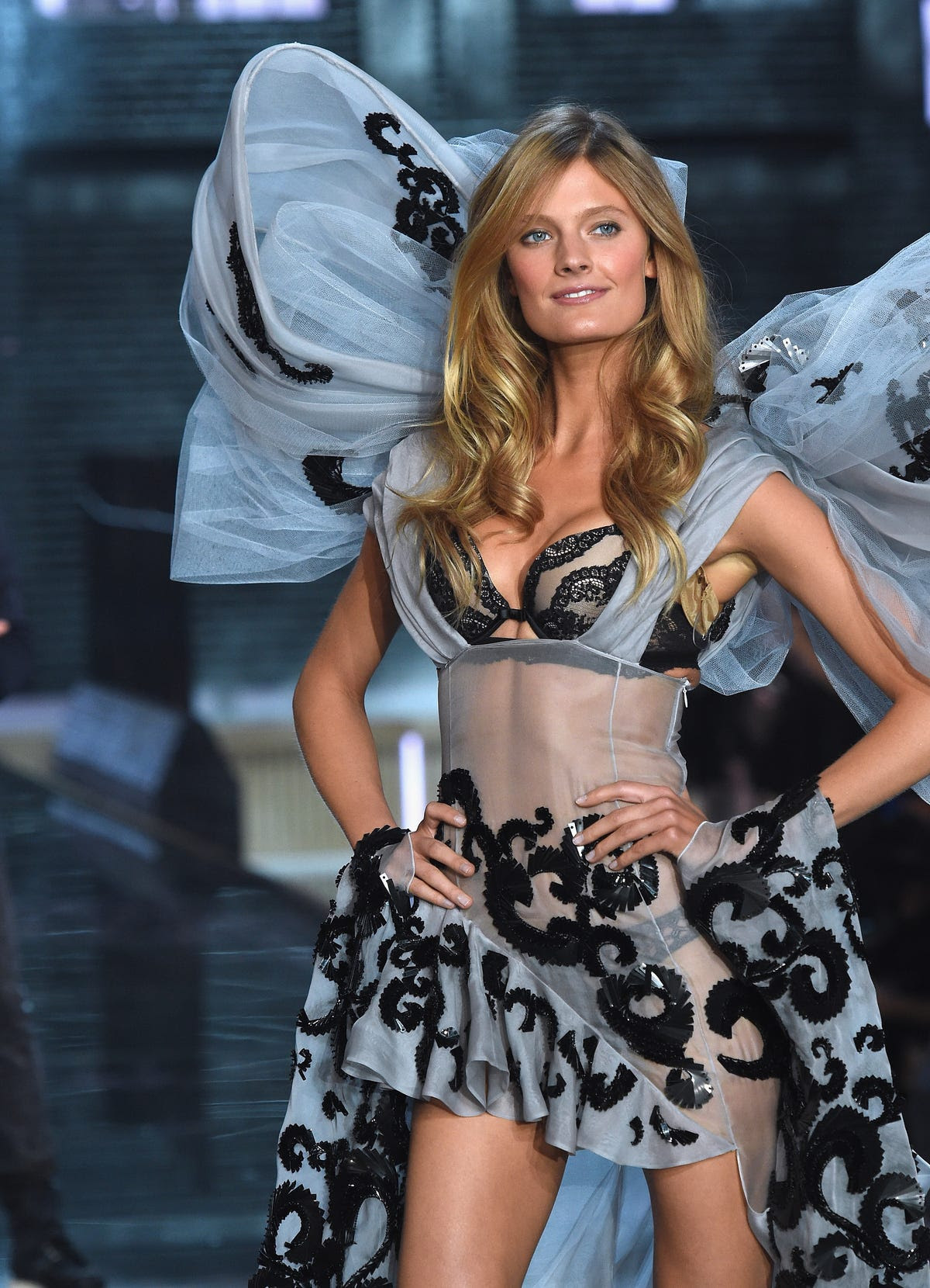 Constance Jablonski walked the runway.