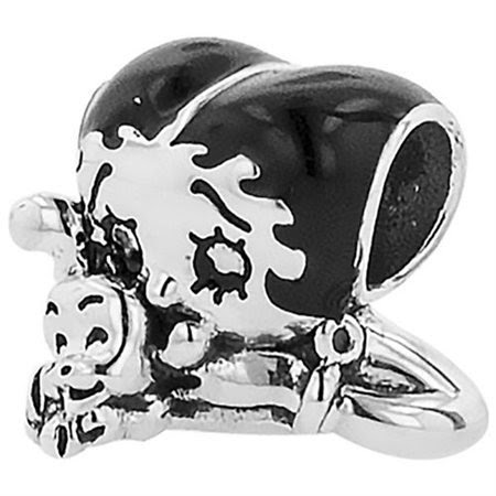 "Personality Jewelry Collection Sterling Silver ""Betty Boop"" Enamel XO-XO-XO Bead"