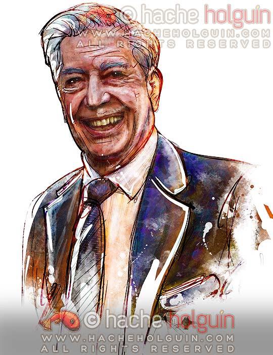 Retrato Mario Vargas Llosa por Hache Holguín