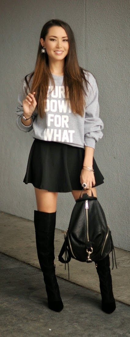 Black Lacy High Heel Boots   Grey Oversized Sweater Shirt
