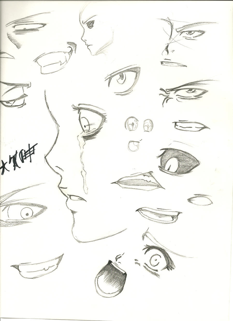 Practicing eyes and mouth by HellGab on DeviantArt