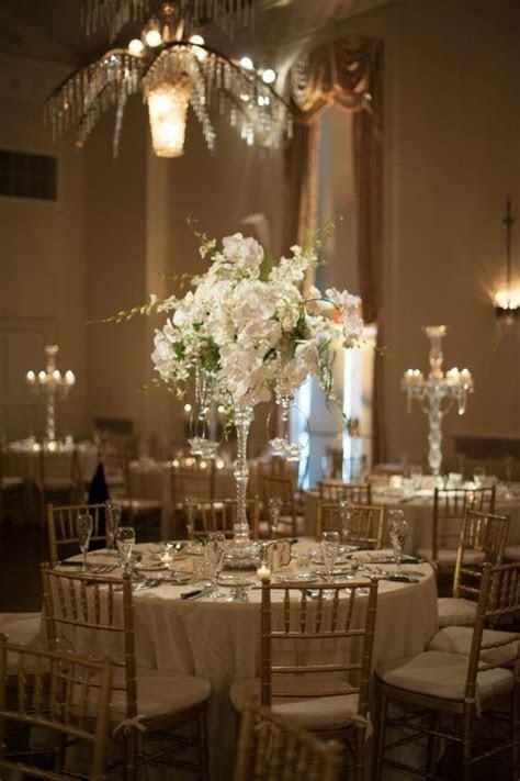 Beautiful elegant crystal candelabra wedding centerpieces
