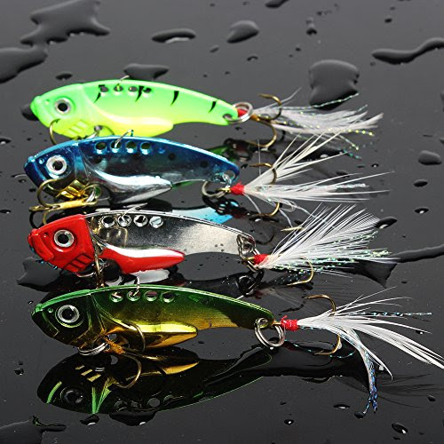 Sougayilang Spinner Spoon Swimbait Freshwater Saltwater Fishing Tackle Lures and Baits Pack of 4pcs (Mix)