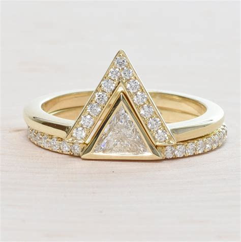 14K Yellow Gold Triangle Engagement Ring Set   Rondels Jewelry