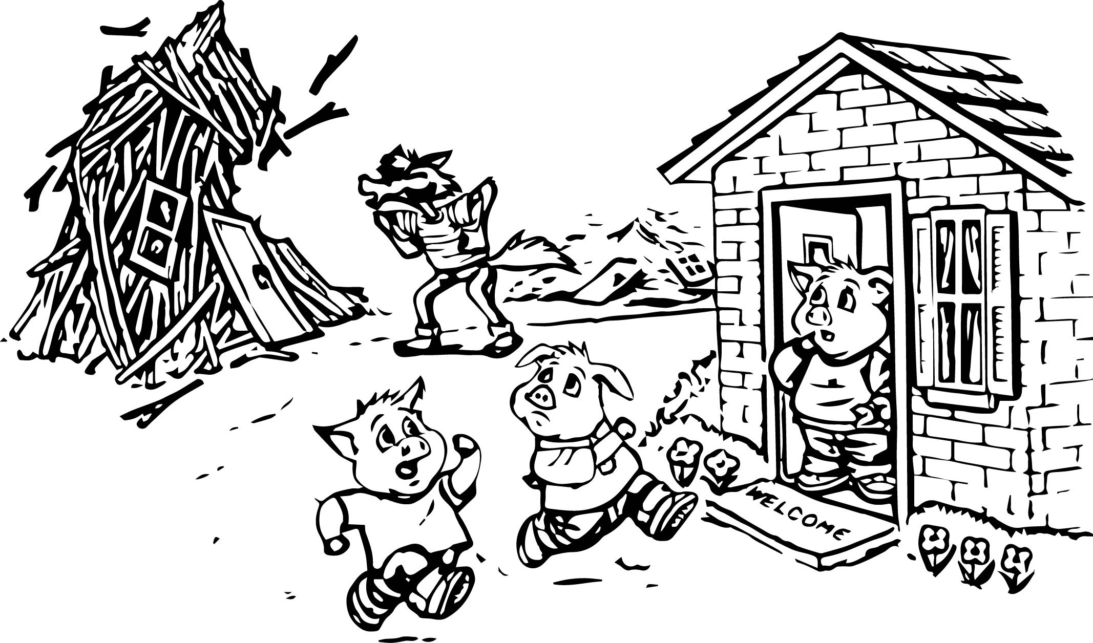Three Little Pigs - Free Colouring Pages