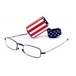 Foster Grant Microvision Folding Reading Glasses w/USA Flag Hard Case