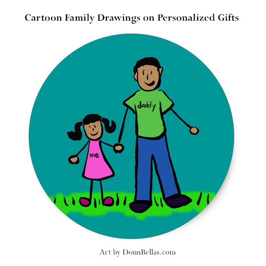 Cartoon family drawings for personalized gifts - DonnnaBellas Art
