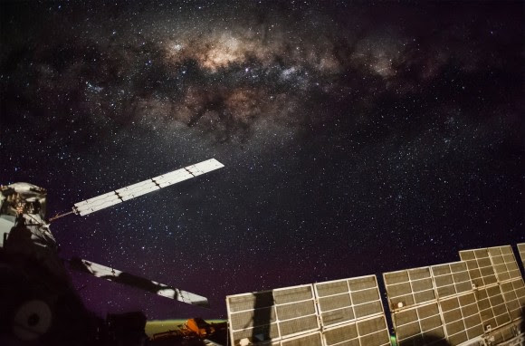 The Milky Way above the International Space Station's solar panels. Credit: NASA/NASA Crew Earth Observations/Hugh Carrick-Allan