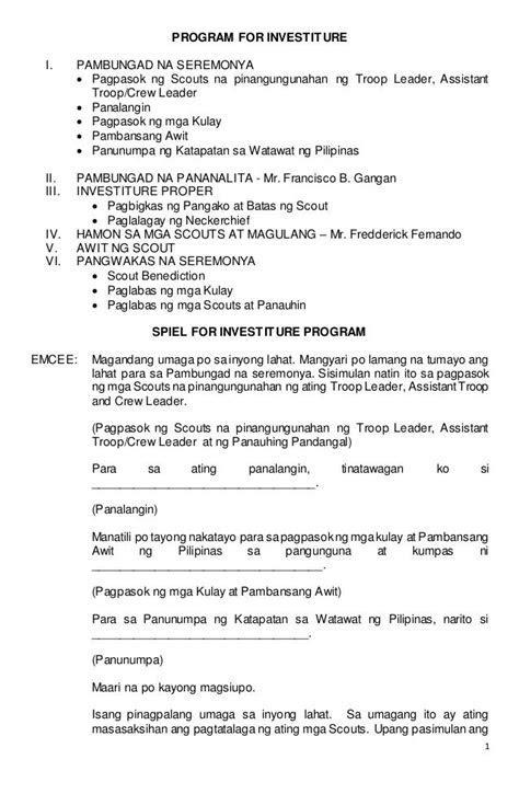 1 PROGRAM FOR INVESTITURE I. PAMBUNGAD NA SEREMONYA