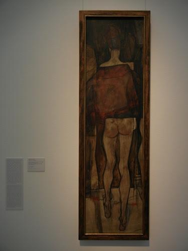 DSCN0907 _ Rückenansicht eines weiblichen Halbaktes mit Tuch (Fragment), 1913, Schiele