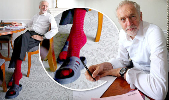Jeremy Corbyn in socks and sandals