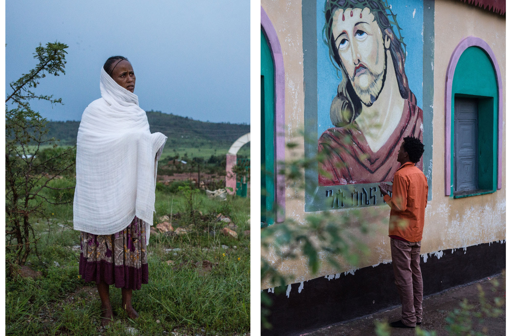 An Eritrean woman, left, and a man pray at dawn beside an Orthodox Church at Adi-Harush refugee camp in Ethiopia. The man, 25-year-old Shewit Hadera, arrived after an earlier attempt to flee Eritrea landed him in jail, where he says he was tortured. Eritrea's information minister said, 'Torture is not allowed; that does not mean it may not happen here and there.'