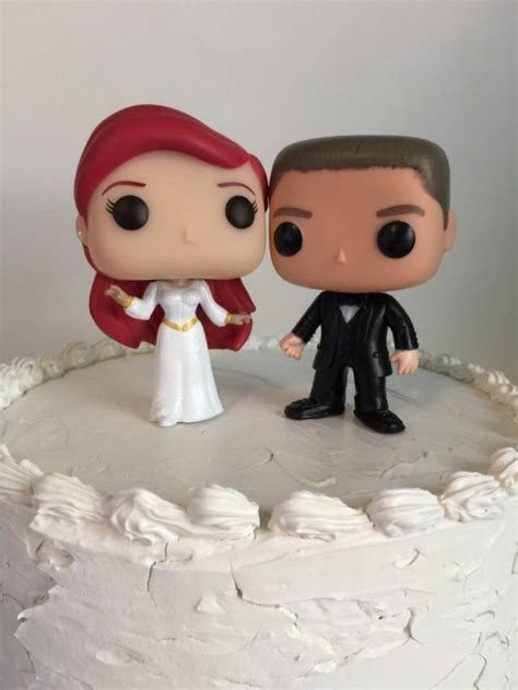 Custom Funko Pop Ariel And Groom Wedding Cake Topper Set