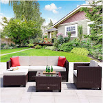 Cloud Mountain Wicker 6 Piece Patio Conversation Set