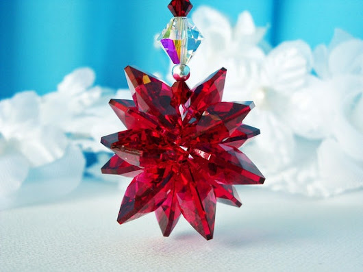 Crystal Suncatcher Car Charm Swarovski Red by CrystalBlueDesigns