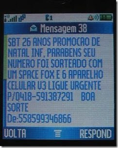 SBT- SMS falso