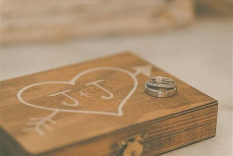 Wooden Wedding Ceremony Ring Bearer Heart Ring Box