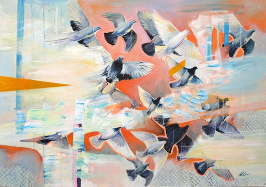 Migration  Bird original large conceptual painting by MilenskaArt