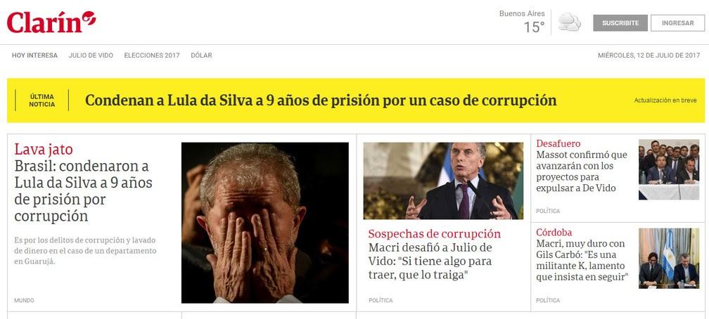 Capa do site do jornal argentino 'El Clarín' dá destaque à condenação do ex-presidente Lula (Foto: Reprdução/ El Clarín)