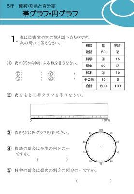 ドリルズ 小学5年生 算数 の無料学習プリント帯グラフ円グラフ