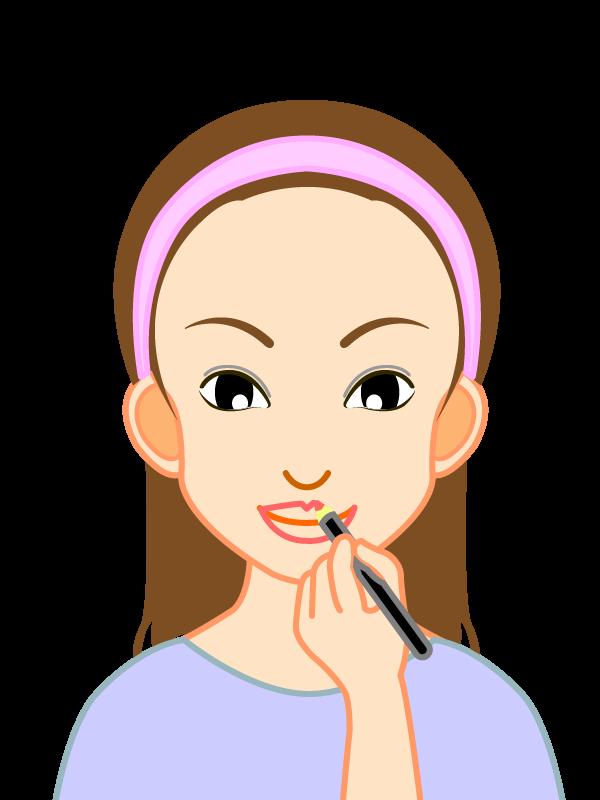 化粧する若い女性のイラスト