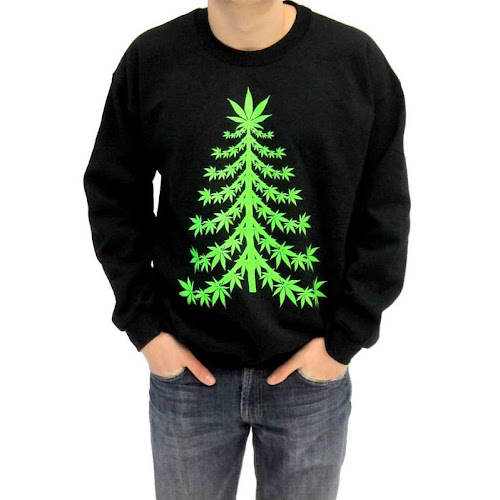 Costume Agent Ugly Christmas Marijuana Christmas Tree Sweatshirt