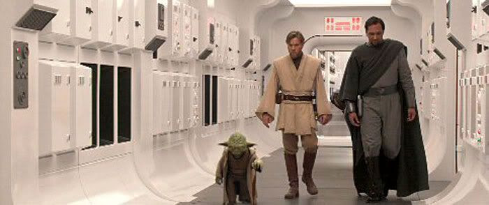 Yoda, Obi-Wan and Bail Organa onboard the Tantive IV.