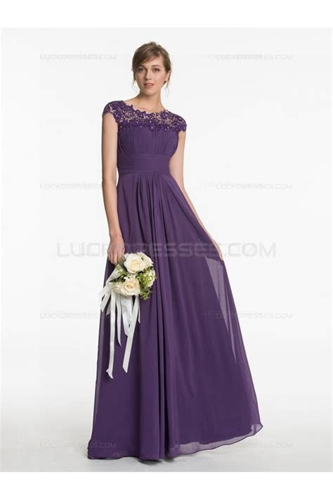 Long Purple Lace Chiffon Wedding Guest Dresses Bridesmaid