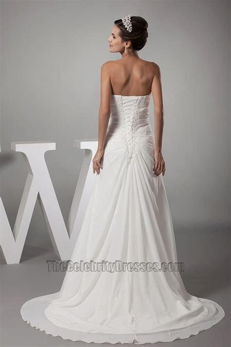 Sweetheart Strapless A Line Chiffon Wedding Dress Bridal