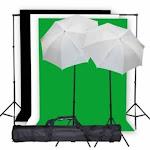 "Studiofx Photo Studio Lighting Light Kit & Stand / (3) 10' X 10' Muslin Green White Black / (2) Snow White Umbrella 33"" -- K1 By Kaezi Photo"