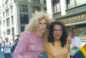 Sylvia Rivera (right), famous for going up to a NYC legislator and hitting him in the head with a clipboard until he signed an equality bill, amongst other radical direct actions.