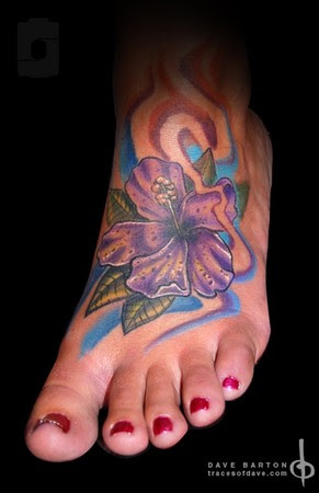 Hibiscus Flower Tattoos On Foot
