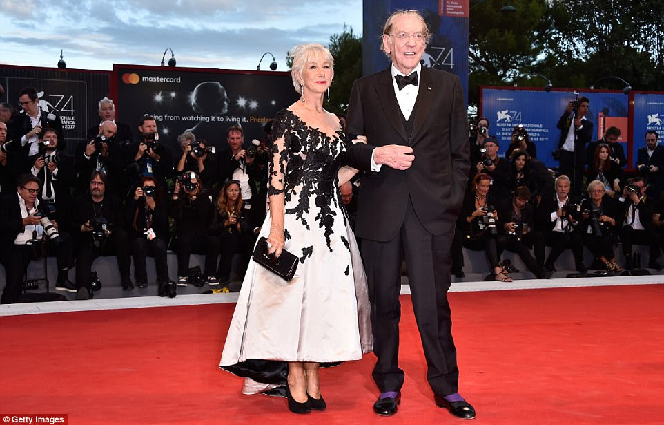 Acting royalty: Helen flashed a proud smile as she posed alongside her The Leisure Seeker co-star Donald Sutherland, 82