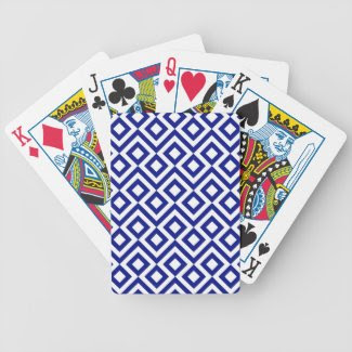 Blue and White Meander Poker Deck