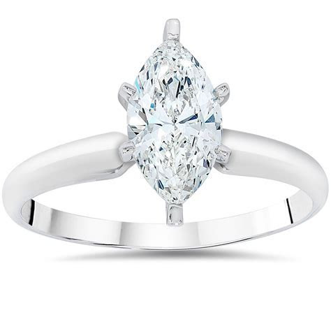 1ct Solitaire Marquise Enhanced Diamond Engagement Ring