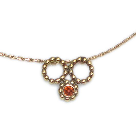 Gold Garnet Gemstone Necklace / elegant charm, bridesmaid jewelry - IROOCCA