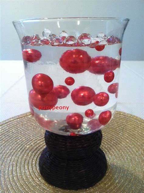 elegant red jumbo pearls mix size vase filler wedding
