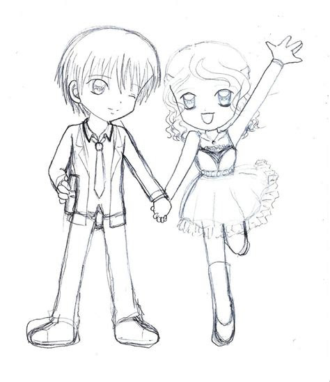 anime chibi couple drawing hd wallpaper gallery