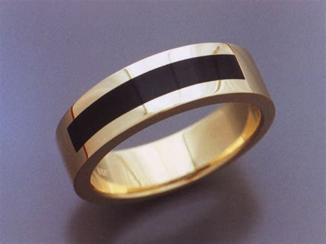 14k Gold & Black Jade Inlaid Ring   Metamorphosis Jewelry