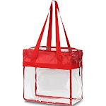 "Zodaca Stylish PVC Transparent Handbag Tote Carry Travel Bag (Size: 13""L x 6""W x 12""H) - Red"