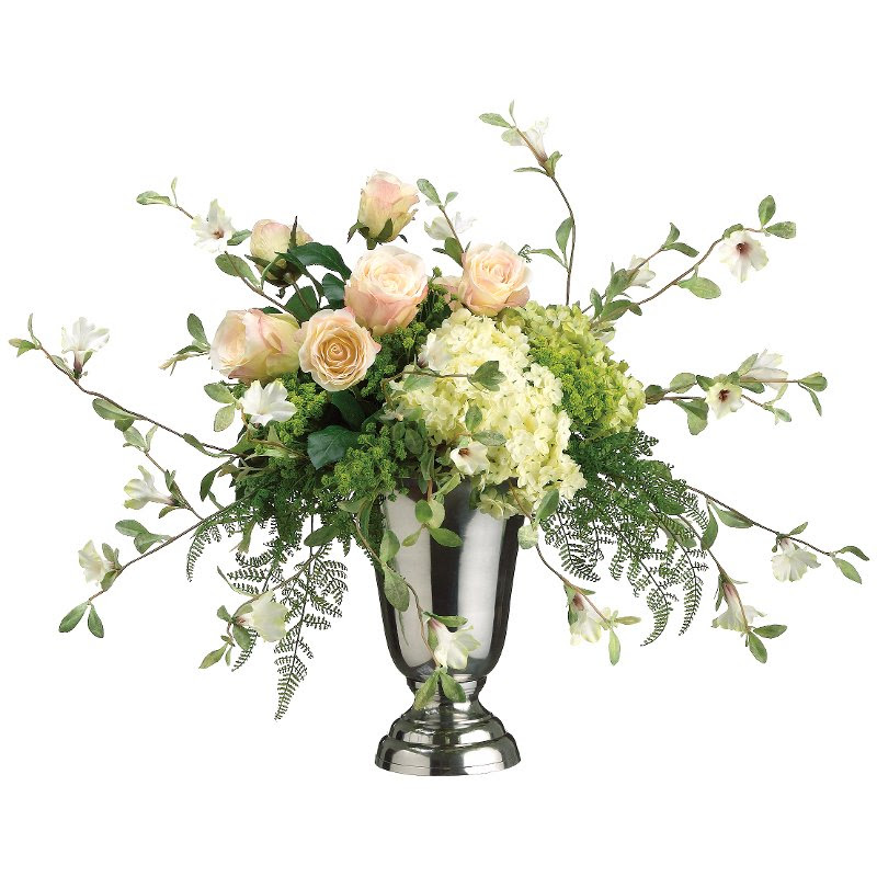 Pink And Green Hydrangea Rose And Petunia Arrangement In Vase Rc Willey Furniture Store