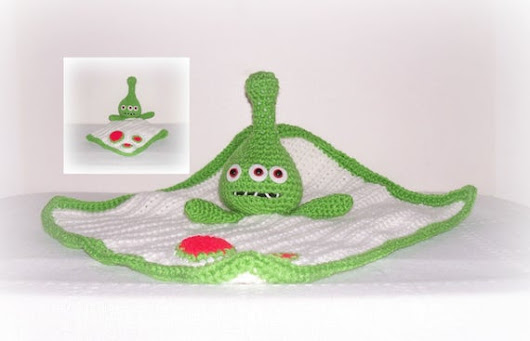 Cute Green Alien Blanket Lovey Green White Crochet Three Eye