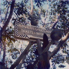 Disneyland Adventureland Ticket sign 1960s